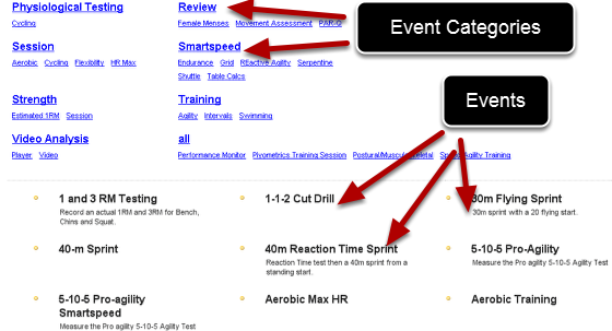On the Application, the Event Forms appear in the Enter Data for Athlete page