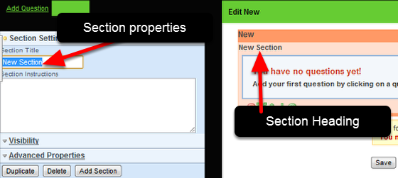 "Set up the Section Properties: Click on the ""New Section"" Heading and the Section properties will appear on the Left"