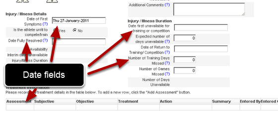 Date Fields: Adding a Date into a form allows you to capture anything from the data of injury, through to return to play dates, or even dates for a goal to be achieved by.