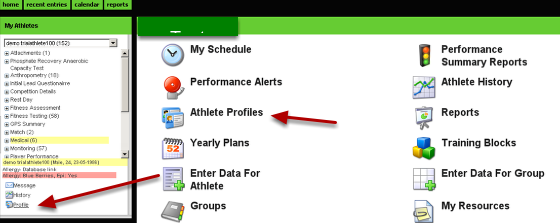 Profile Pages appear on the application from the Profile link and Athlete Profiles (as shown here)