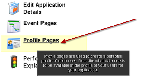 To create a Profile Pages, click on the Profile Pages module (NOT the Event Pages)