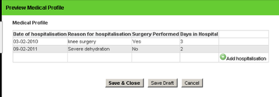 The example here shows that a Line Text (Reason for hospitalisation), Yes/No (surgery performed) and Number field (days in hospital) have been added.
