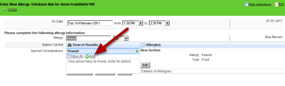 "The example here shows that a users with read and write access to the database can enter in database records from the actual application by clicking the green ""Add"" button"
