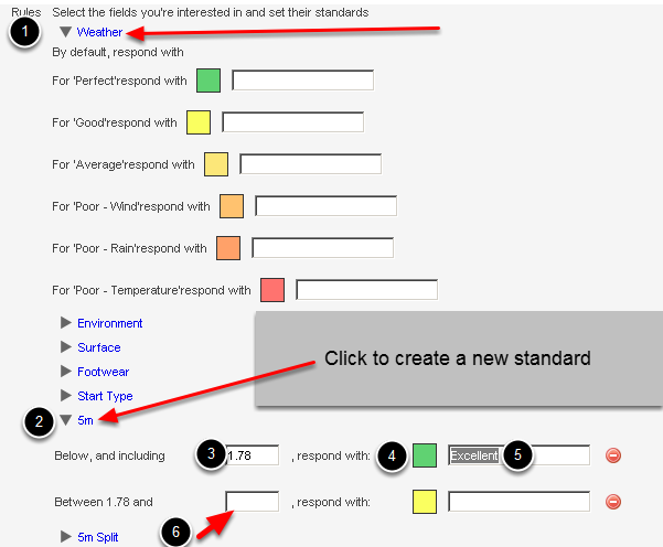 "Now set the ""Rules"": performance ranges, colours and feedback for your fields"