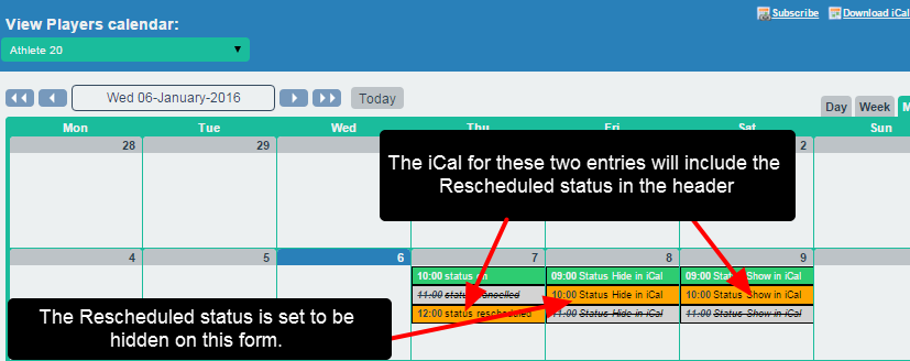 The image shows a screenshot from Smartabase for three entries with different status (On, Rescheduled and Cancelled) for three different event forms. Two of the forms are set up to show the RESCHEDULED status of the entry in an iCal
