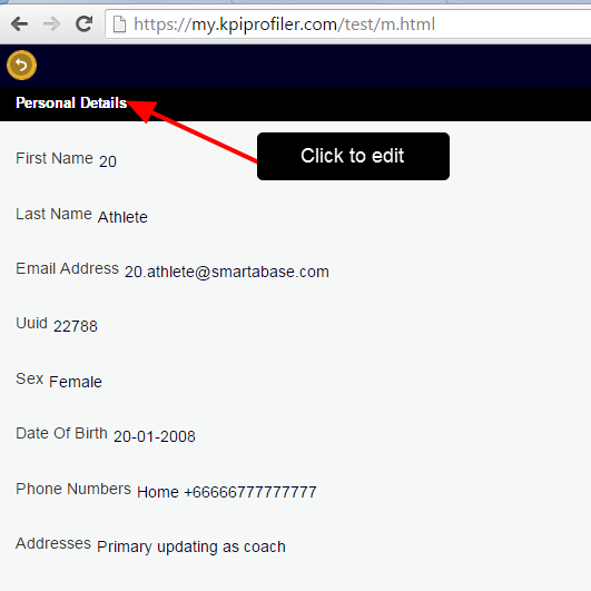 An example of using the Edit Athlete Accounts - Partial system permission via the Profile Pages on iOS or m.html