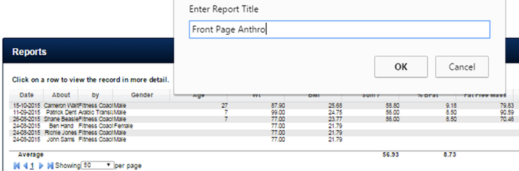 Newly saved Front Page Reports are added to the bottom of the list
