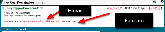 No default Role: The content in the e-mail will include the users e-mail address and username. The example here is for an athlete who is NOT autoactive and is not in any groups or roles