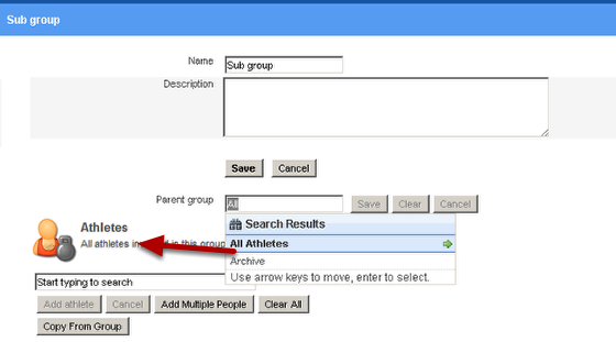 """Select the Group that is going to the """"Parent"""" Group so that this current group will be a subgroup of that group."""