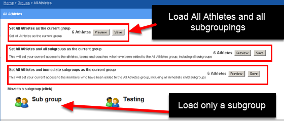 """On the actual site when you look at the group """"All Athletes"""" Group you can see that the """"Sub group"""" group is a subgroup that can be loaded as part of the All Athletes Group or as it's own group"""