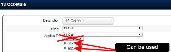 "Note that the ""Sex"" and ""Age"" are determined from the athlete's account data, so the system does not have to load up Event data. These two filters do not influence loading time."