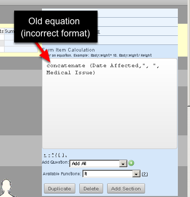 To retain a date format in a text equation you need to change the concatenate equation from just referencing the date field name (e.g. Date Affected) so that is has a date(fieldname) before the field name