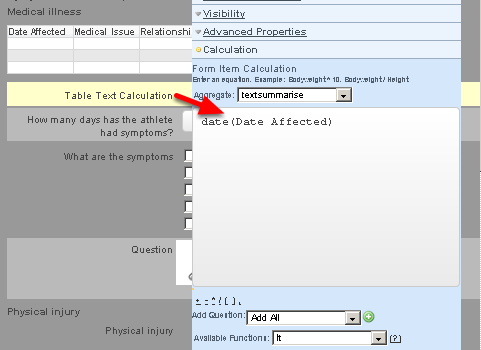 If you were performing a table text calculation of the date field (without using a text equation in the table as shown above), then date would need to be added before the field name (as shown here)