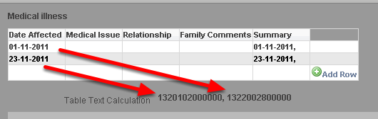 "An example without ""date"" being added before the field name shows the ""Date Affected"" field appearing in milliseconds in the Table Text calculation"