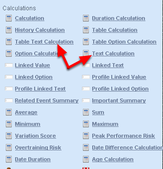 You do NOT need to use a special duration calculation for a Text Calculation or a Table Text calculations (shown here).  You simply use the existing Text and Table text calculation, but the format of the duration field in the calculation area needs to be written correctly (see the step below)