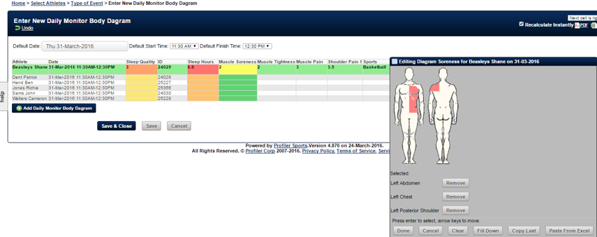 In Group Entry, the body diagram appears for entry. User can select the desired body parts.