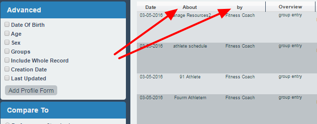 The About and By name column width in the Athlete History and Reports has changed to 110 pixels