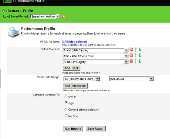 Performance Profile Reports can be set up to include multiple forms
