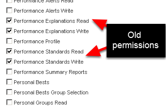 The Performance Standards and Performance Explanations Read and Write permissions are going to be removed from the System Permissions List. These capabilities can only be set up on the Builder Site and all users have access to Performance Standards/Explanations on the actual site that have been created