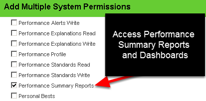 Performance Summary Reports enables access to view the Performance Summary Dashboard