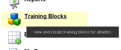 The Training Blocks button appears on the Home Page of the system