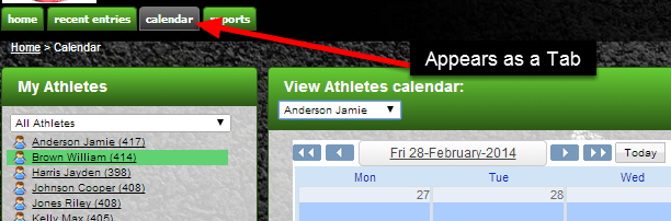 The Calendar Module is in the Tabs along on the top of the site