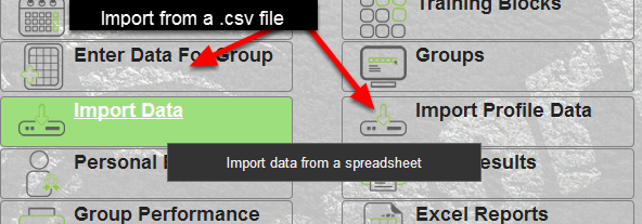 The Import Data and Import Profile Data buttons appear on the Home page of the system