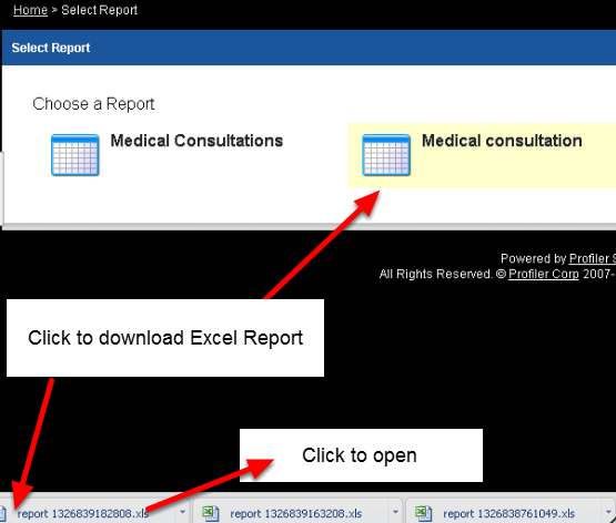 When you select Excel for the Favourite Event, any excel reports that you have appear for selection. Click on one and it will appear in your downloads ready to open