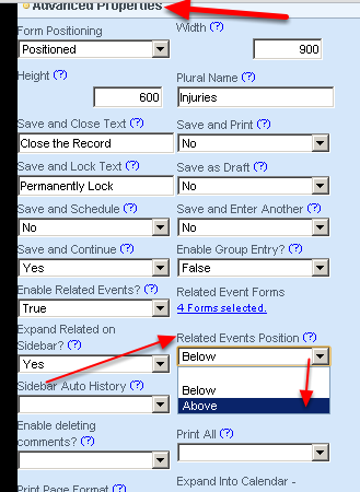 In the Form's Advanced Properties of the Form, you need to set up the Related Events Position to Above (it is set to Below by default)