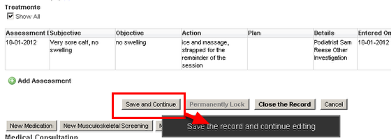 The Save and Continue speeds up data entry when a form has Related Events, or SOAP tables that cannot be accessed unless the event is first saved on the system.