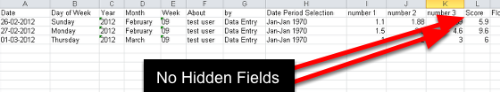 Now, when you run an Excel Export, the hidden fields do not apper in the excel output