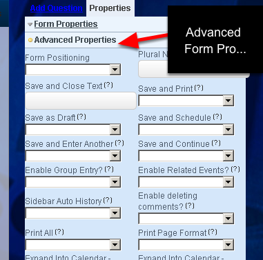 To do this you need to go to the Builder Site, Open the Event (from the Events Pages) and go to the Form's Advanced Properties Section