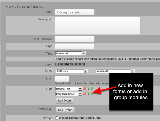 You can access the original report set up. You can add in any additional forms, groups or specifications that you need