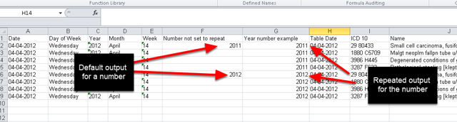 When you create an Excel Report, the data that is set to Repeat, will appear in all of the Rows in the Excel Output