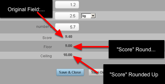You can set a number to round up or down to the nearest whole number in a calculation field