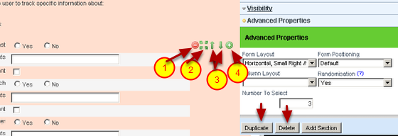 Sections can be moved up or down and inserted underneath existing sections. Use the options displayed to the right of the section on the form overview, or the options displayed with the Section Settings