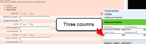To change the Column Layout, go to the Advanced Properties for the Section and click on the number of Columns you require in the Column Layout Feature.