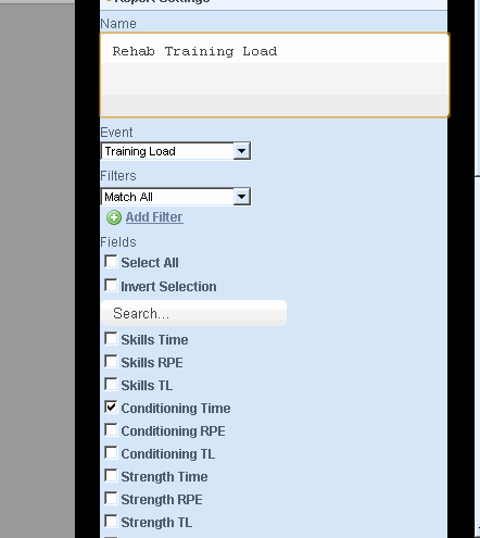 You then select the Form and the fields from that Event Form that you want to display. This Report example will be set up to display Rehab Training Load in an Injury Record