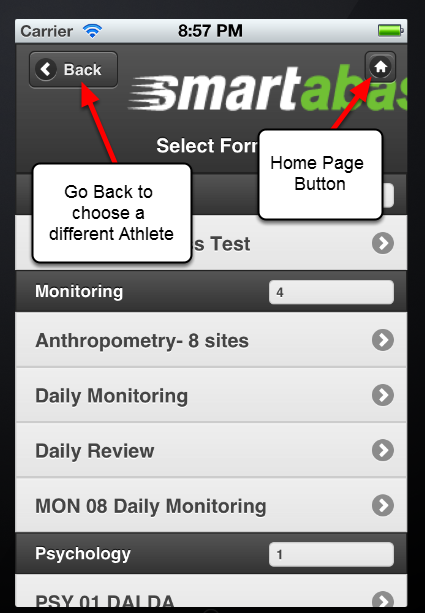 When you are on the Athlete's History Page, you can click to go Back and choose another Event Form to view. You can click Back again to view another Athlete's Data. Or, click on the Home Icon to return to the Home Page.