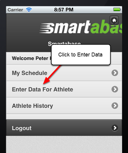 Click on the Enter Data for Athlete button