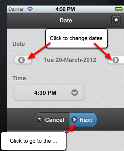 The iPad and iPhone applications split the form up into Sections and ONLY display one Section at a time. The first Section displays the date and time fields that the record is stored.