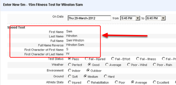 The example here shows that all of the Name configurations have been added to an Event Page
