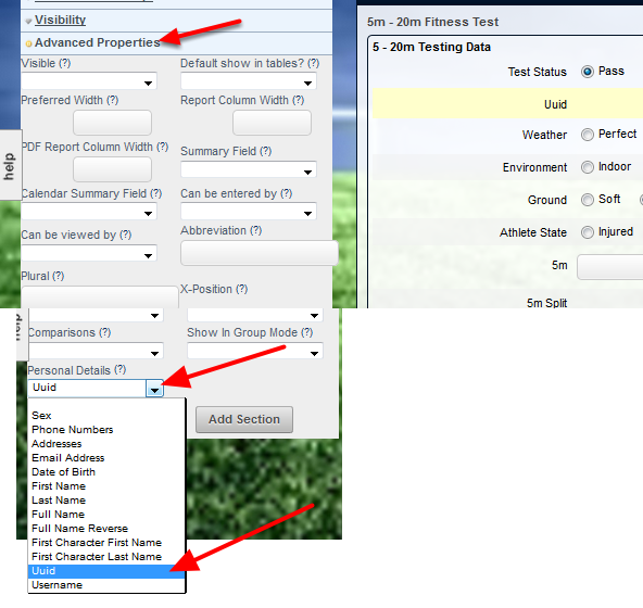 In the Field's Advanced Properties, click on the the Personal Details drop down and select the field you need