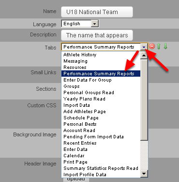 """From the drop down list, select the Module that you want to appear as the first Tab (on the far left of the Site). The example here shows that """"Performance Summary Reports"""" was selected to appear in the first Tab."""