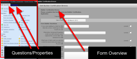 The Questions and Form Properties are NOW on the left of the page. The Form Overview is NOW on the right of the page