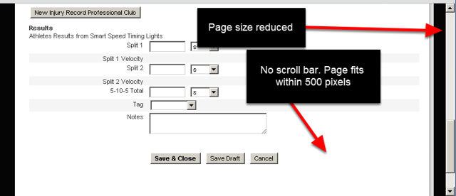 If the page width is set to 500 pixels and you do the same window reduction as in the step above, now when you reduce the page width (using the reduce browser window button), or if you are on a small screen size, you do not need to scroll