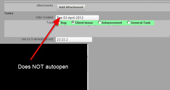 Now the first field does not autoopen. This helps to save time and make the system more user friendly.