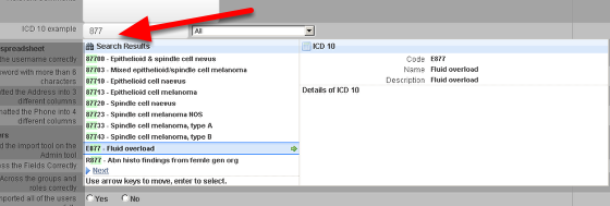 An example of entering in data using a number from the ICD 10 codes.