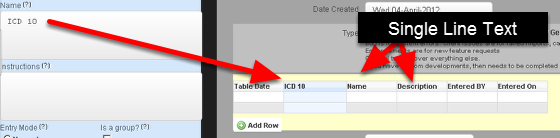 The ICD 10 Code can be set up to appear in a table format