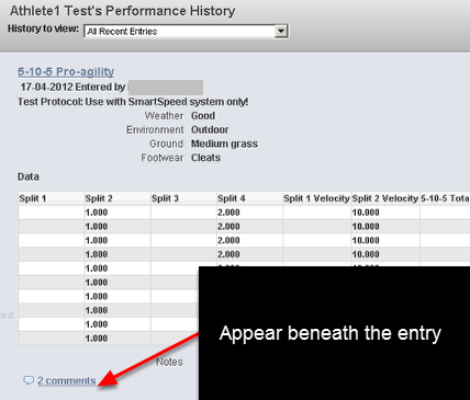 The comments box also appears beneath the entry on the Recent Entries Module.